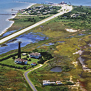Aerial view of Bolivar Point Lighthouse, located on the eastern side of the entrance to Galvaston Bay, Texas