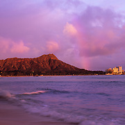 Diamond Head above the Honolulu city skyline.