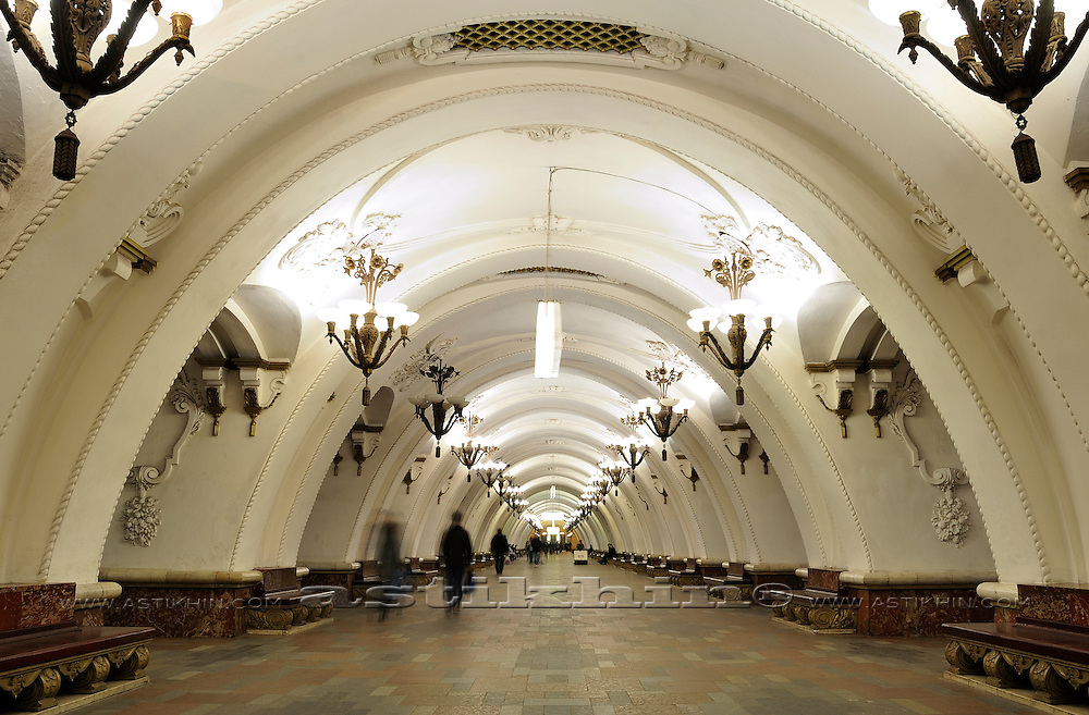 Inside Moscow metro station.