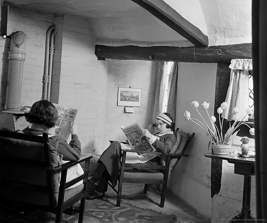 Maids Reading the Papers at Hollands Health Farm, Bellinghurst, Sussex, 1935