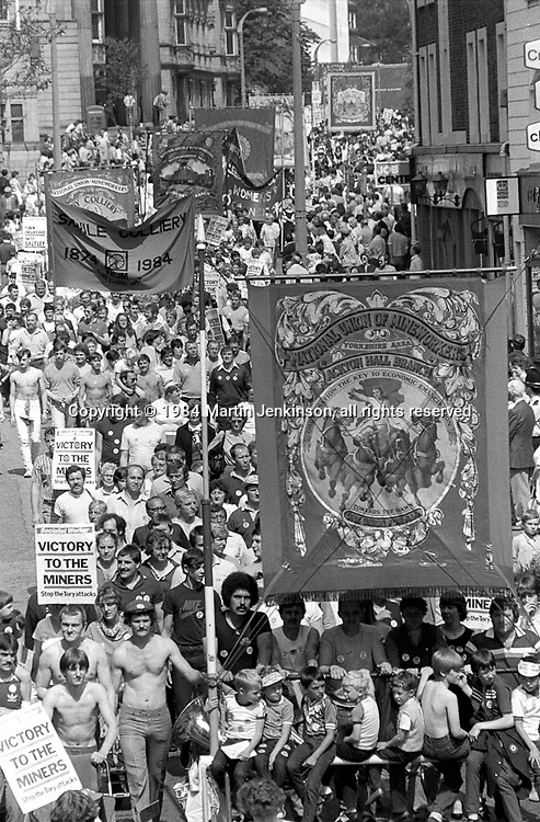 Ackton Hall Branch banner,1984 Yorkshire Miner's Gala. Wakefield.