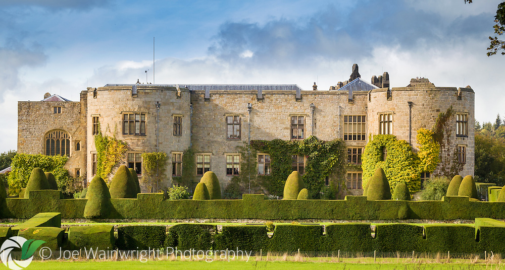 Clipped yew hedges surround Chirk Castle, North Wales - photographed in October