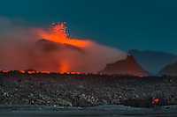 Eruption in Holuhraun, Iceland. Taken 13th. of september 2014. The location is north of Bardarbunga volcano. Aerial photos.
