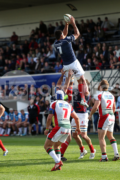 Chris Walker collects this line-out during the Green King IPA Championship match between London Scottish &amp; Plymouth Albion at Richmond, Greater London on Sunday 5th October 2014<br /> <br /> Photo: Ken Sparks | UK Sports Pics Ltd<br /> London Scottish v Plymouth Albion, Green King IPA Championship,5th October 2014<br /> <br /> &copy; UK Sports Pics Ltd. FA Accredited. Football League Licence No:  FL14/15/P5700.Football Conference Licence No: PCONF 051/14 Tel +44(0)7968 045353. email ken@uksportspics.co.uk, 7 Leslie Park Road, East Croydon, Surrey CR0 6TN. Credit UK Sports Pics Ltd