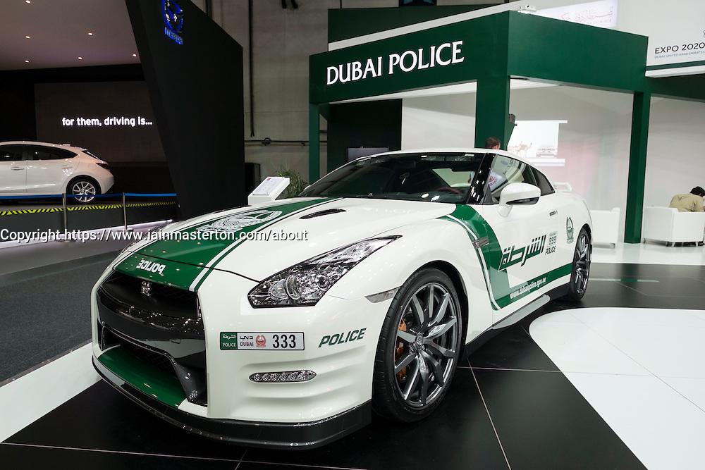 Nissan GTR Dubai Police car at the Dubai Motor Show 2013 United Arab Emirates