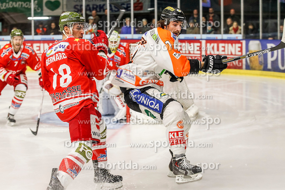 17.02.2015, Eisstadion Liebenau, Graz, AUT, EBEL, Moser Medical Graz 99ers vs HCB Suedtirol, 48. Runde, im Bild Anton Bernard (HCB Südtirol) und Luke Walker (Moser Medical Graz 99ers) // Anton Bernard (HCB Südtirol) and Luke Walker (Moser Medical Graz 99ers) during the Erste Bank Icehockey League 48th Round match between Moser Medical Graz 99ers and HCB Suedtirol at the Ice Stadium Liebenau, Graz, Austria on 2015/02/17, EXPA Pictures © 2015, PhotoCredit: EXPA/ Erwin Scheriau