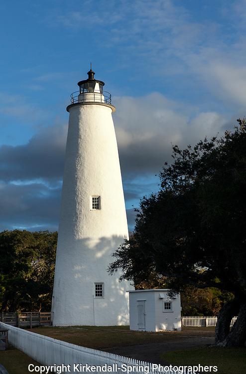 NC00820-00...NORTH CAROLINA - Sunrise at the Ocracoke Lighthouse on Ocracoke Island in the Outer Banks.