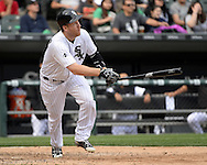 CHICAGO - APRIL 21:  Todd Frazier #21 of the Chicago White Sox hits a solo home run in the ninth inning against the Los Angeles Angels of Anaheim on April 21, 2016 at U.S. Cellular Field in Chicago, Illinois.  The Angels defeated the White Sox 3-2.  (Photo by Ron Vesely)   Subject: Todd Frazier