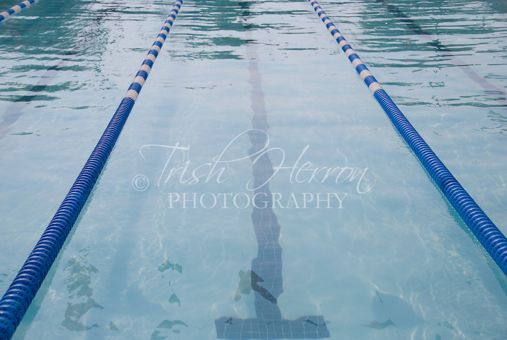 Swimming lane in competition swimming pool in early morning light.