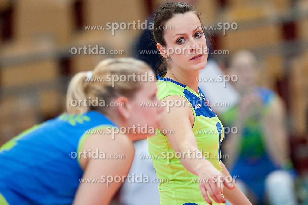 Katja Medved #6 of Slovenia during volleyball match between National Teams of Slovenia and Azerbaijan of 2014 CEV Volleyball European League Women - Pool A, on July 5, 2014, in Arena Ljudski vrt Lukna, Maribor, Slovenia, Slovenia. Photo by Urban Urbanc / Sportida