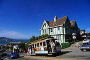 Image of a cable car on Hyde Street, downtown San Francisco, California, America west coast