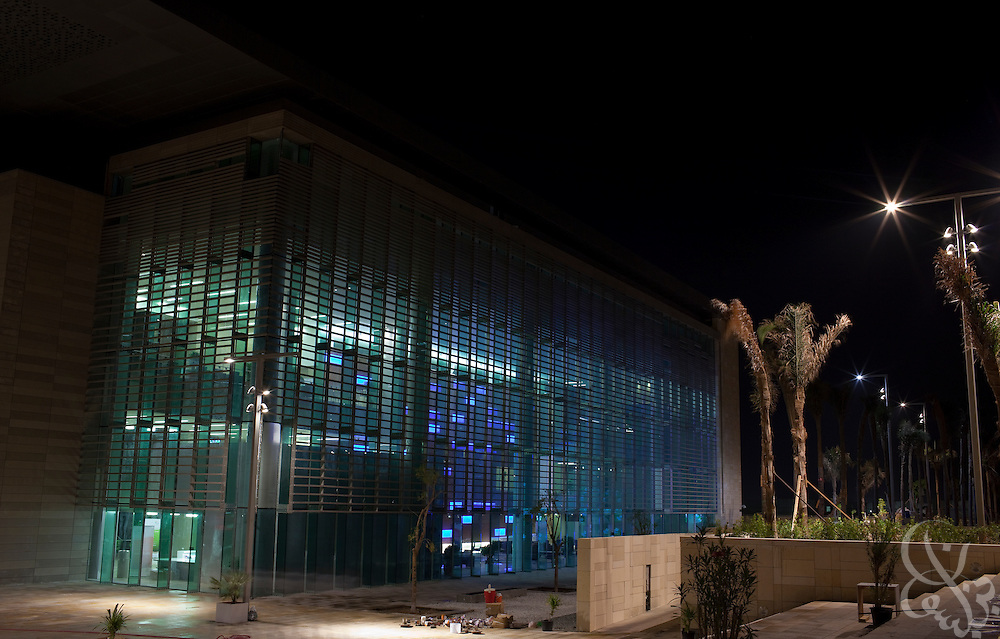 The campus of the King Abdullah University of Science and Technology (KAUST) is illuminated by night.  KAUST is an international, graduate-level research university dedicated to inspiring a new age of scientific achievement in the Kingdom that will also benefit the region and the world. (Photo by Scott Nelson)..
