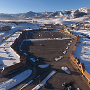 SHOT 3/2/17 7:54:06 AM - Aerial photos of Park City, Utah. Park City lies east of Salt Lake City in the western state of Utah. Framed by the craggy Wasatch Range, it's bordered by the Deer Valley Resort and the huge Park City Mountain Resort, both known for their ski slopes. Utah Olympic Park, to the north, hosted the 2002 Winter Olympics and is now predominantly a training facility. In town, Main Street is lined with buildings built primarily during a 19th-century silver mining boom that have become numerous restaurants, bars and shops. (Photo by Marc Piscotty / © 2017)