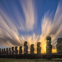 South America; Chile; Easter Island; Rapa Nui; south pacific; UNESCO; World Heritage; moai; statue; statues and night sky at moonrise