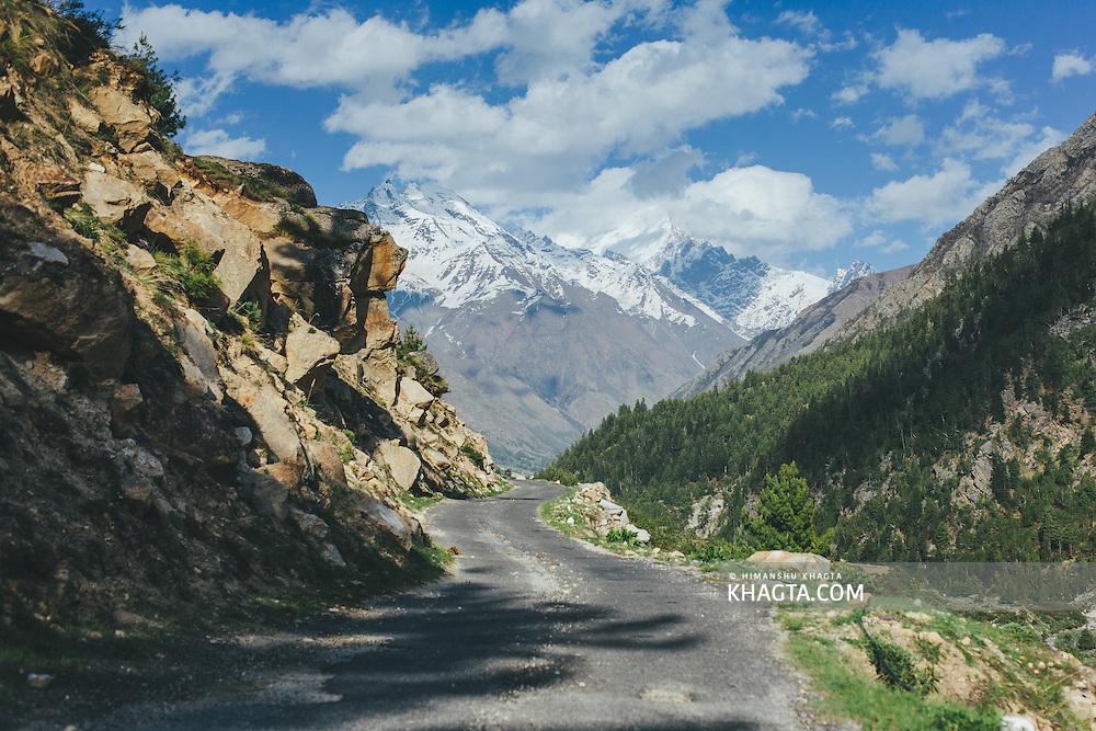A beautiful mountain road to Chitkul village of Kinnaur