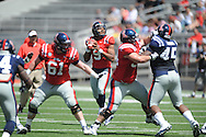 Maikhail Miller (9) passes at Ole Miss' Grove Bowl at Vaught-Hemingway Stadium in Oxford, Miss. on Saturday, April 13, 2013.