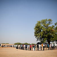 Crowds line up at the Garang Mausoleum for the first day of voting for Southern Sudan's referendum for separation on Jan. 9. 2011 in Juba.