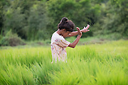 Gammy, a young Thai girl dancing in the rice fields this morning. Nakhon Nayok Thailand Aug 14, 2016. PHOTO BY LEE CRAKER