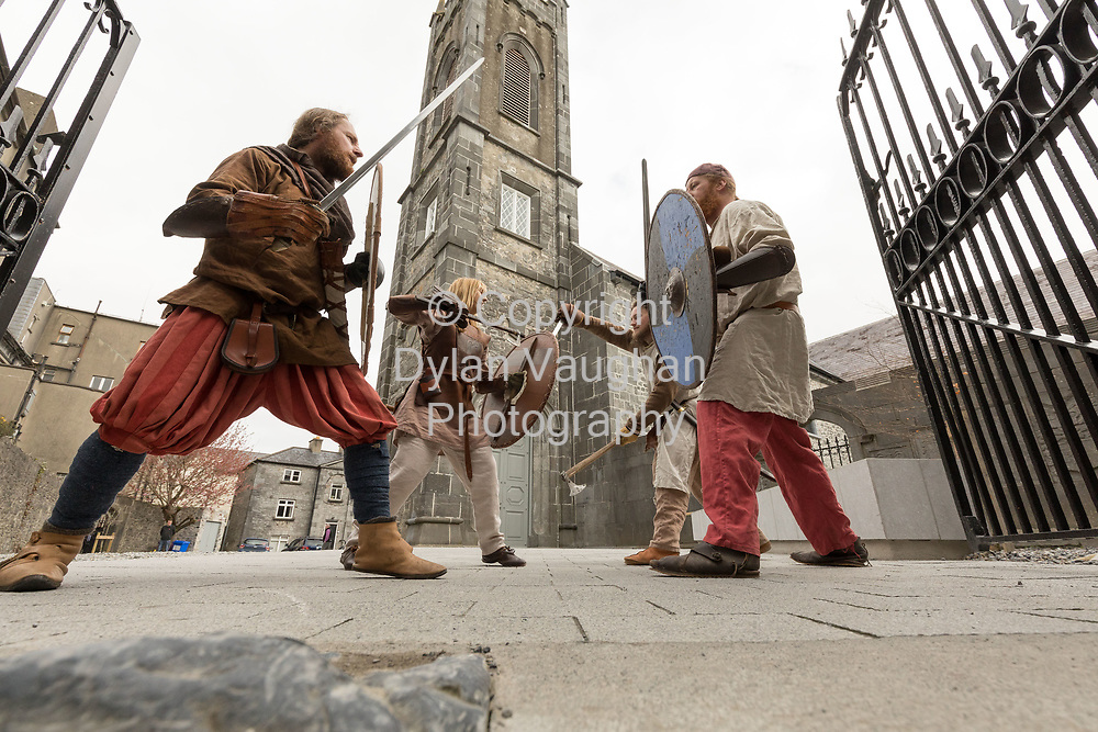 Repro Free no charge for use<br /> <br /> 4-4-17<br /> <br /> Official opening of Kilkenny&rsquo;s Medieval Mile Museum<br />  <br /> Today, Tuesday April 4th  at 12.15pm, Patrick O Donovan, Minister for Tourism and Sport officially opened Kilkenny&rsquo;s Medieval Mile Museum by cutting a ribbon at the door of the former St Mary&rsquo;s Church (St Mary&rsquo;s Lane, Kilkenny). The Medieval Mile Museum, commissioned by Kilkenny County Council, represents an investment of &euro;6.5 million, with significant assistance from Failte Ireland&rsquo;s Capital Programme and additional funding from Kilkenny Civic Trust. <br /> <br /> Pictured at the opening are members of Deise Medieval Gavin Murphy, Barbra Power, Chris Sliwa and Patrick Dunne. <br /> <br /> Picture Dylan Vaughan.