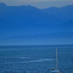 Sailboat in Victoria Harbor, Victoria, British Columbia