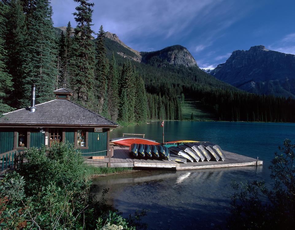 Boathouse at Emerald Lake, Yoho National Park, Rocky Mountains, British Columbia, Canada
