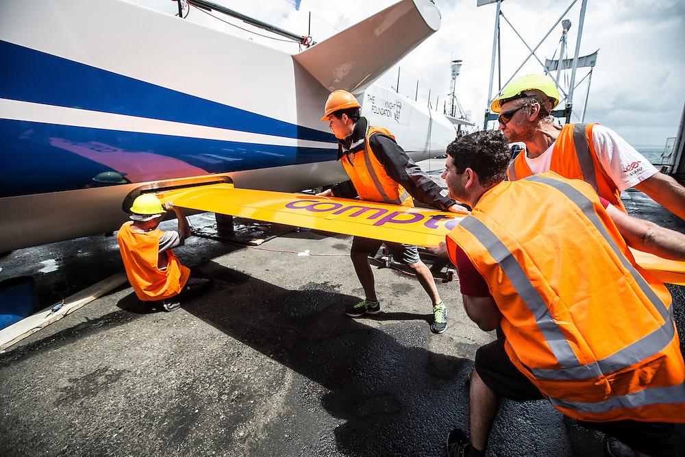 100-ft race yacht at Southern Ocean Marine. Tauranga, New Zealand. 7 November 2016.  Photo:Gareth Cooke/Subzero Images