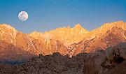 Moonset Over Mt. Whitney, Sierra Nevada, CA