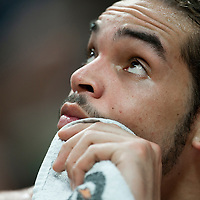 21 December 2009: Chicago Bulls center Joakim Noah rests during the Sacramento Kings 102-98 victory over the Chicago Bulls at the United Center, in Chicago, Illinois, USA.