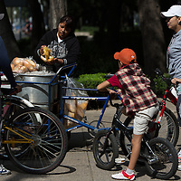 Tamales vendors are a fixture of daily life in Mexico City.