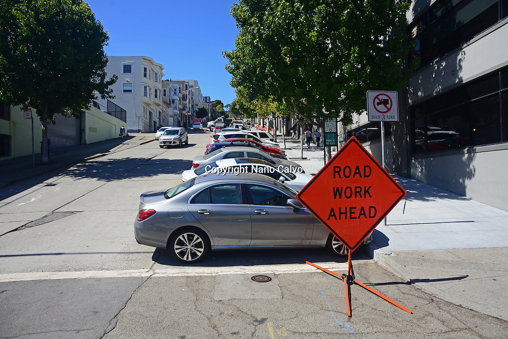 Road work ahead sign in San Francisco.