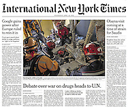 "THE NEW YORK TIMES. A1. ""Earthquake Leaves a Trail of Destruction in Ecuador"" by Maggy Ayala. April 20, 2016"
