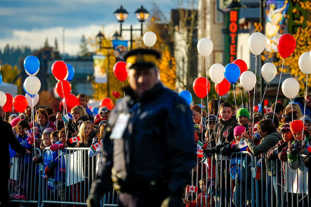 Police watch the crowd during the 2016 royal tour in Whitehorse.