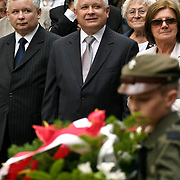 Kaczynski Jaroslaw Lech and Maria on Powazki cementery during anniversary of Warsaw Uprising