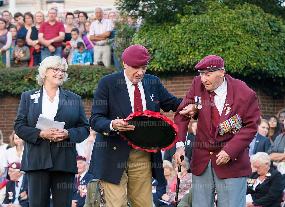 20140919       Copyright image 2014&copy;<br />  ,Daily Telegraph,  Daily Telegraph,<br /> Veterans at the 'Bear Pit' during a wreath laying ceromany for the 70th Anniversay of the Battle of Arnhem<br /> <br /> The Bear Pit, Arnhem Town Centre memorial event<br /> <br /> For photographic enquiries please call Anthony Upton 07973 830 517 or email info@anthonyupton.com <br /> This image is copyright Anthony Upton 2014&copy;.<br /> This image has been supplied by Anthony Upton and must be credited Anthony Upton. The author is asserting his full Moral rights in relation to the publication of this image. All rights reserved. Rights for onward transmission of any image or file is not granted or implied. Changing or deleting Copyright information is illegal as specified in the Copyright, Design and Patents Act 1988. If you are in any way unsure of your right to publish this image please contact Anthony Upton on +44(0)7973 830 517 or email: