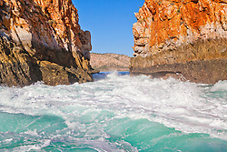 Wildwater at the Horiztonal Waterfalls, Talbot Bay on an outgoing tide.  The Horizontal Waterfalls are a pair of pinch rapids, a natural break in the McLarty Range on the Kimberley coast.