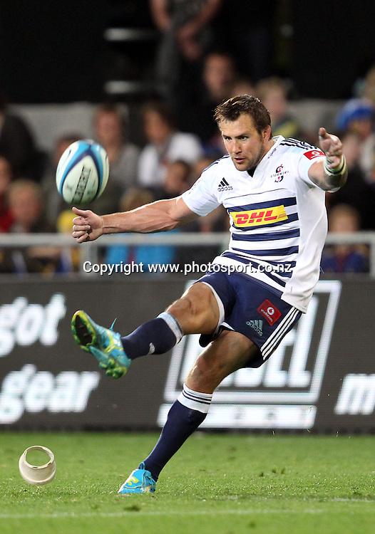 Peter Grant kicks a goal.<br /> Investec Super Rugby - Highlanders v Stormers, 7 April 2012, Forsyth Barr Stadium, Dunedin, New Zealand.<br /> Photo: Rob Jefferies / photosport.co.nz