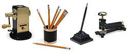 pencil sharpener, pencil holder, pencil, pen, stapler on white background