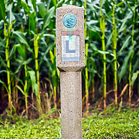 An original 1920s Lincoln Highway marker near Wrightsville, PA. <br /> <br /> /// ADDITIONAL INFORMATION: 7/20/11 - travel.Lincoln.East.0929  - STUART PALLEY, ORANGE COUNTY REGISTER - Lincoln Highway July 2013.