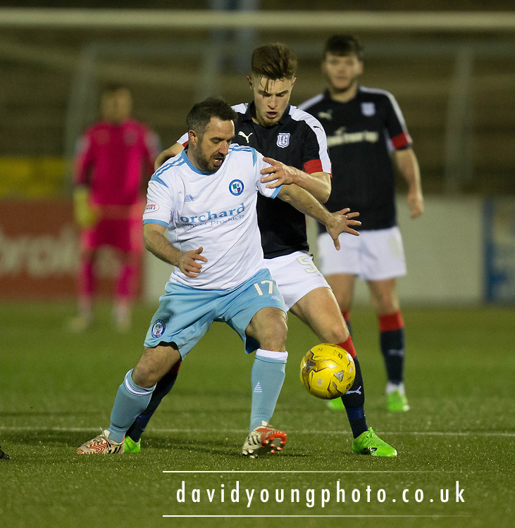 Forfar's Charlie King holds off Dundee's Matty Smyth - Forfar Athletic v Dundee, Martyn Fotheringham testimonial at Station Park, Forfar.Photo: David Young<br /> <br />  - &copy; David Young - www.davidyoungphoto.co.uk - email: davidyoungphoto@gmail.com