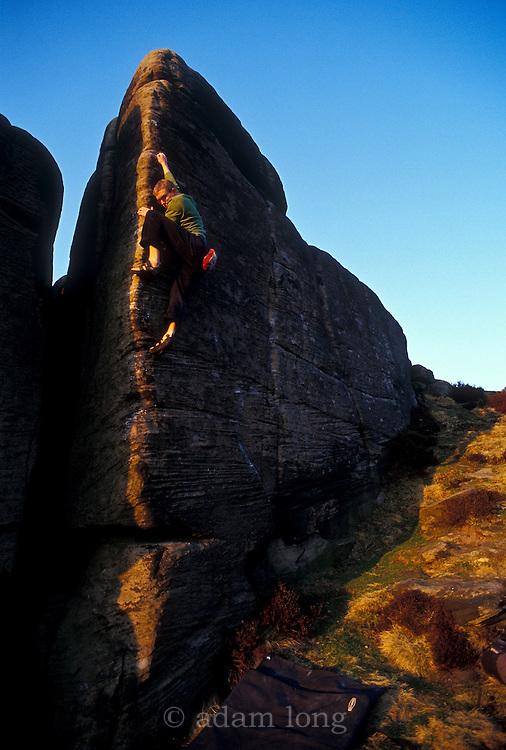 Simon Wilson climbing Ulysses or Bust, E5, Curbar