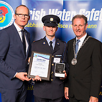 Dublin - Ireland, Tuesday 8th November 2016:<br /> Simon Coveney TD, Minister for Housing, Planning &amp; Local Government with 'Seiko Just In Time Award' recipient Garda Jarlath Duffy (Wexford) and Martin O'Sullivan, Chairman of Irish Water Safety at the annual Irish Water Safety Awards held at Dublin Castle.  Photograph: David Branigan/Oceansport
