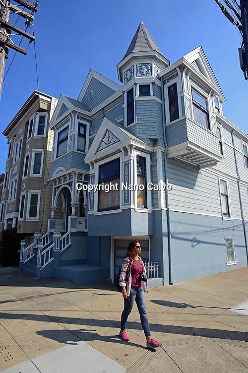 Young woman walking the streets of San Francisco, California.