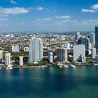 Aerial panoroma view of Brickell and downtown Miami waterfront.