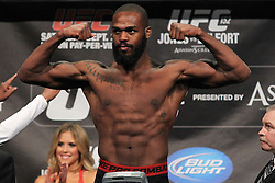 Toronto, Ontario, Canada - September 21, 2012: UFC Light Heavyweight Champion Jon Jones weighs in for his fight against Vitor Belfort at the UFC 152 weigh-ins at the Mattamy Athletic Centre at The Gardens in Toronto, Ontario, Canada.
