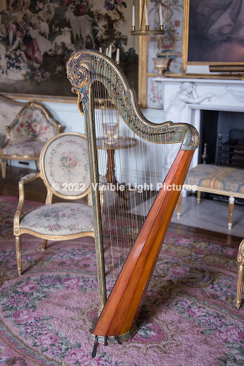 A harp in one of the parlor rooms in the castle.