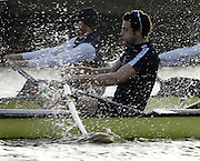 PUTNEY, LONDON, ENGLAND, 05.03.2006, Oxford's  No.7 Tom Parker, Pre 2006 Boat Race Fixtures,.   © Peter Spurrier/Intersport-images.com[Mandatory Credit Peter Spurrier/ Intersport Images] Varsity Boat Race, Rowing Course: River Thames, Championship course, Putney to Mortlake 4.25 Miles Sunrise, Sunsets, Silhouettes