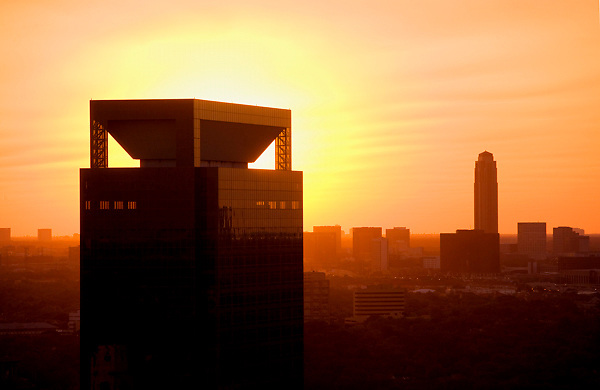 Memorial Hermann Medical Plaza at sunset with Williams Tower in the background in Houston, Texas - April 2011.