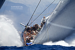 "The SuperYacht Cup 2013, first race J Class, ""Hanuman"" at full power."