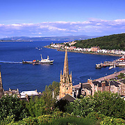 Rothesay bay and town with Clyde ferry in view, Isle of Bute, Argyll.