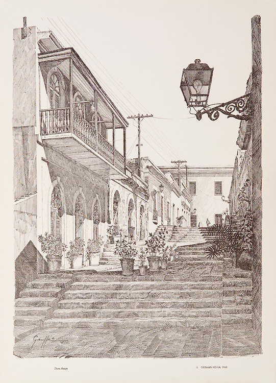 Cat. #22 - Lithographic print of Pen and Ink drawing of a street in old San Juan, Puerto Rico known as Calle de las escaleras (Street of stairs), better known as the Hospital Alley, XVII century. This print is part of a series printed on antique colored paper.<br /> Paper size is 11 1/8 x 15 1/4&quot;. Image size is approximately 10 x 13 1/2&quot; <br /> Cat. #22 - Impresi&oacute;n litogr&aacute;fica de un dibujo a plumilla de la Calle de las Escaleras, mejor conocida como Callejon del Hospital, siglo XVII, Viejo San Juan, Puerto Rico. Esta impresi&oacute;n es parte de una serie impresa en papel estilo antiguo.<br /> Tama&ntilde;o del papel es11 1/8 x 15 1/4&quot;. Tama&ntilde;o de la imagen es aproximadamente 10 x 13 1/2&quot;